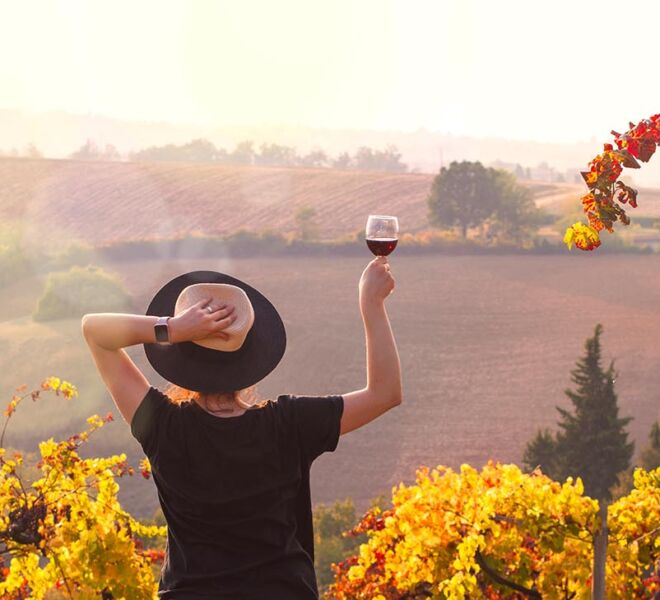 Girl in a hat at sunset and a glass of wine in hand. Nature Ital